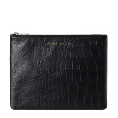 Anti - Heroine Clutch Black Croc Embossed - Oxley and Moss