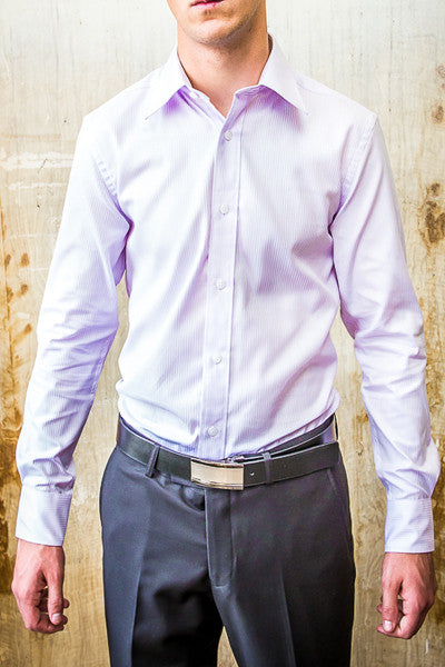 Boston Purple Soft Strip Dress Slim Fit Shirt