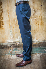 Boston Navy 100% Wool Trouser in Tailored Fit