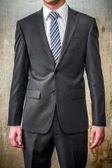 Boston Black Pin Strip 100% Wool Suit in Tailored Fit