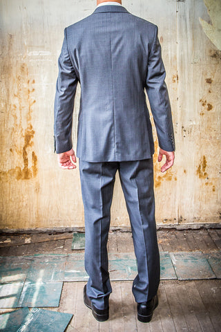 Boston Grey Pin Strip 100% Wool in Tailored Fit Suit