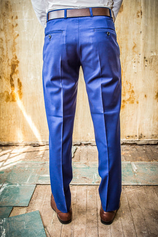 Daniel Hechter Royal Blue 100% Wool Trouser in Tailored Fit