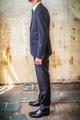 Boston Black 100% Wool in Tailored Fit Suit