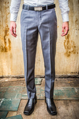 Daniel Hechter Grey Pic And Pic 100% Wool Trouser in Tailored Fit