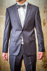 Boston Charcoal Light Plaid 100% Wool in Tailored Fit Suit