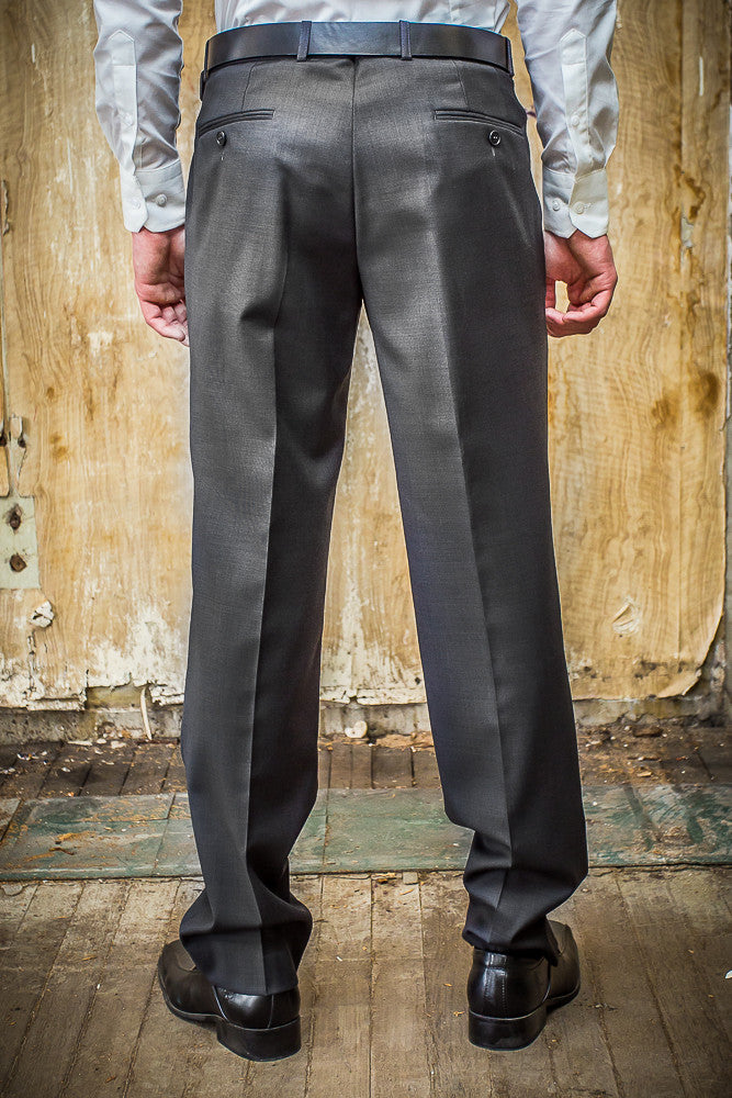 Boston Charcoal Check 100% Wool Trouser in Tailored Fit