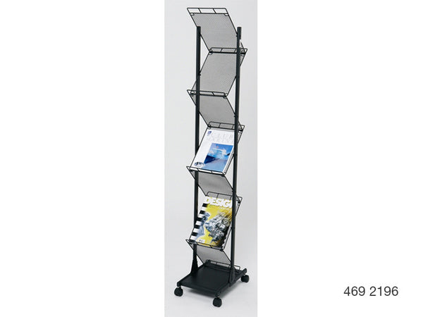 A4 Mobile Display and Exhibition Floor Stand - Mesh Shelves