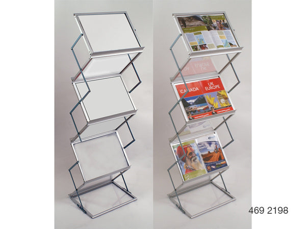 A3 Mobile Display and Exhibition Floor Stand -  Frosted Acrylic Shelves