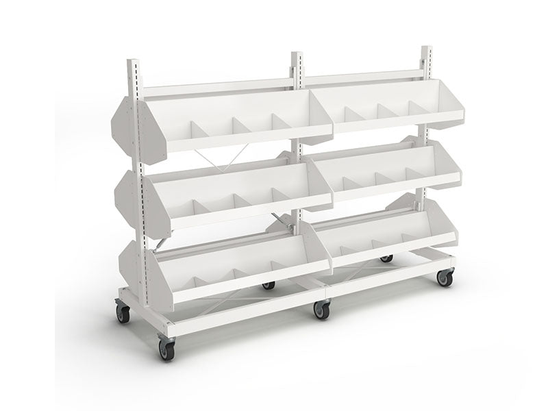 Intraspec Double Mobile Shelving 1260mm Browser Bins