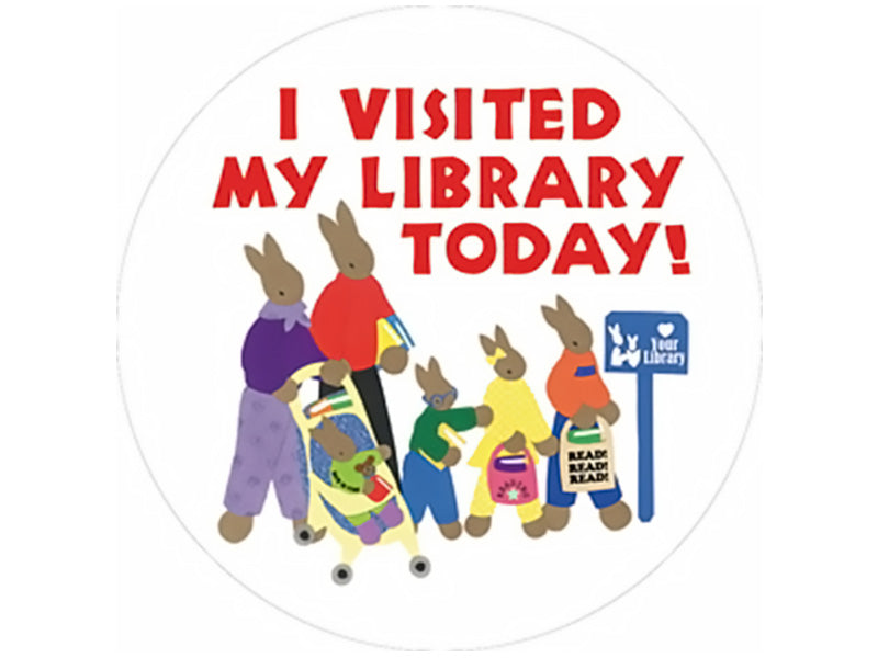 I Visited My Library Today Bunny Stickers