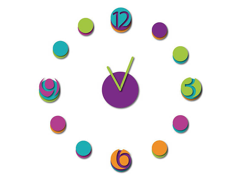 WallPops!® Colourful Clock Wall Decal