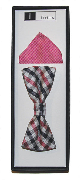 IBH008 Pink Issimo Polyester Bow Tie & Hank Box Set