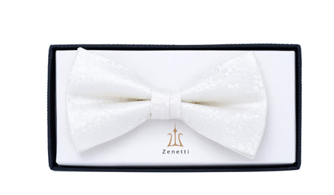 ZBT003 (IVORY) - SILK PATTERNED BOW TIE