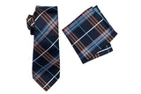 ZTH039 (NAVY) - BOXED SILK LONG TIE & HANK SET