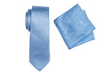 ZTH043 (BLUE) - BOXED SILK LONG TIE & HANK SET