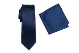 ZTH043 (NAVY) - BOXED SILK LONG TIE & HANK SET