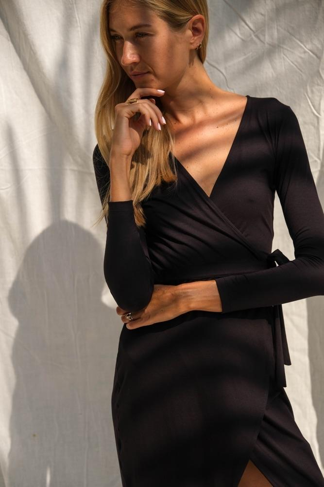 Farrah Wrap Dress (Midnight) - APPAREL THIS IS A LOVE SONG