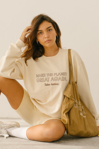 APPAREL - Make The Planet Great Again Sweater (Summer Sand)