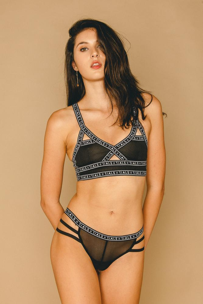 Logo Bondage Bra Classic Black - THIS IS A LOVE SONG