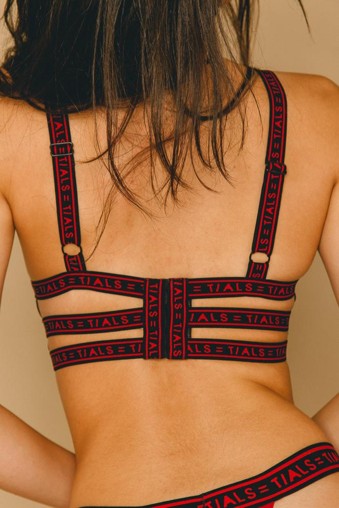 Logo Bondage Bra Classic Red - THIS IS A LOVE SONG