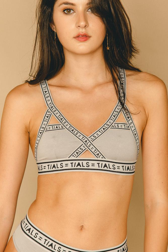 Single Logo Bondage Bra Grey - INTIMATES THIS IS A LOVE SONG