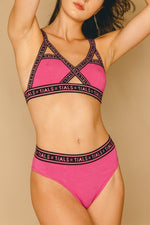 Single Logo Bondage Bra: Hot Pink Exclusive - THIS IS A LOVE SONG