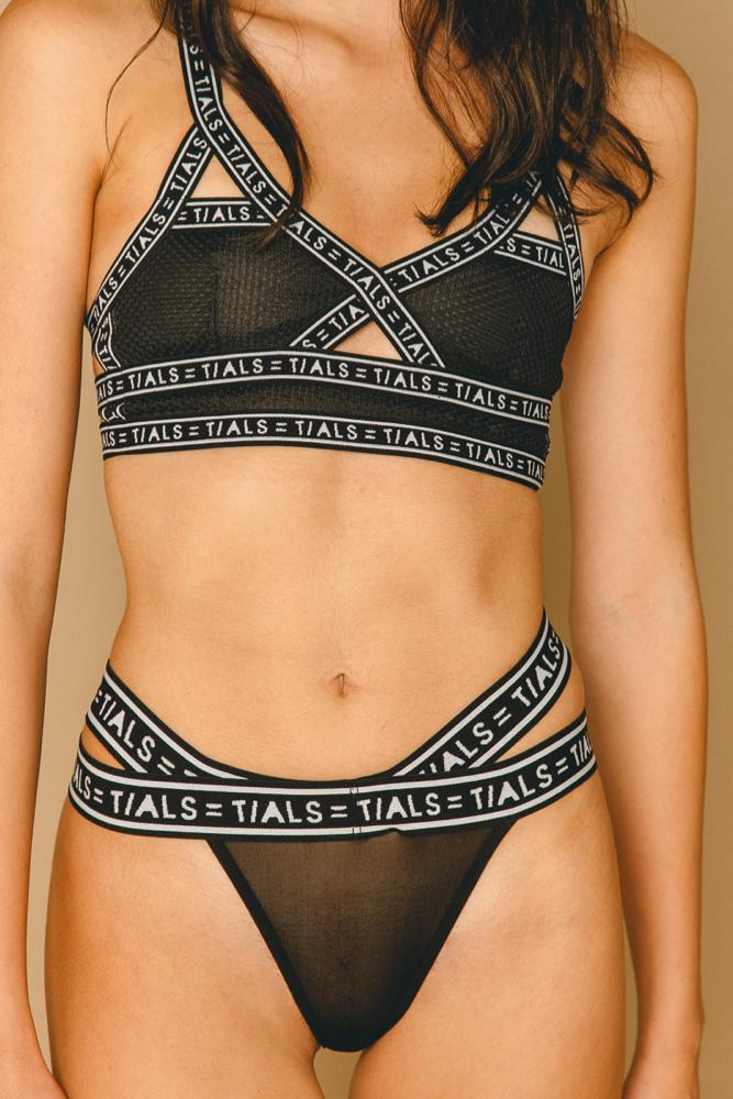 Strappy Logo Thong Black - THIS IS A LOVE SONG
