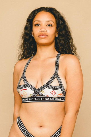 Single Logo Bondage Bra White
