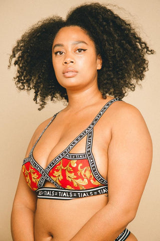 Single Logo Bondage Bra Toffee