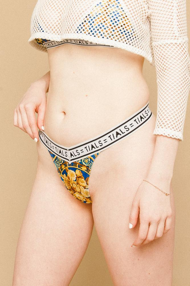 TIALS X Versace Logo Thong (Blue) - INTIMATES THIS IS A LOVE SONG