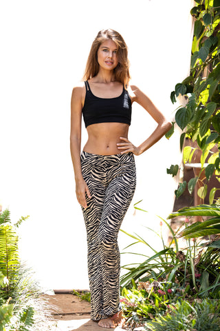 Flared Leggings - Zebra Cream Black - FUNKY SIMPLICITY