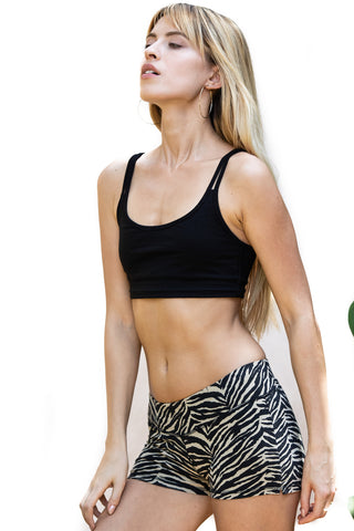 Cross Back Bra - Sports Bra - Black