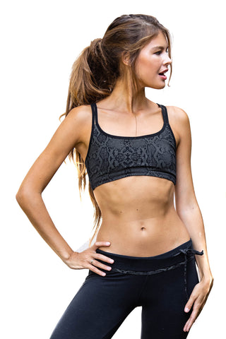 Cross Back Bra - Sports Bra - Black Snake