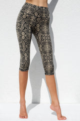 High Waist Capri Tights - Cream Black Snake