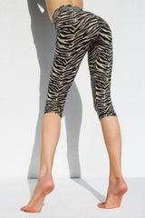 High Waist Capri Tights - Zebra Cream Black