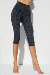 High Waist Capri Tights - Pufferfish Grey Black