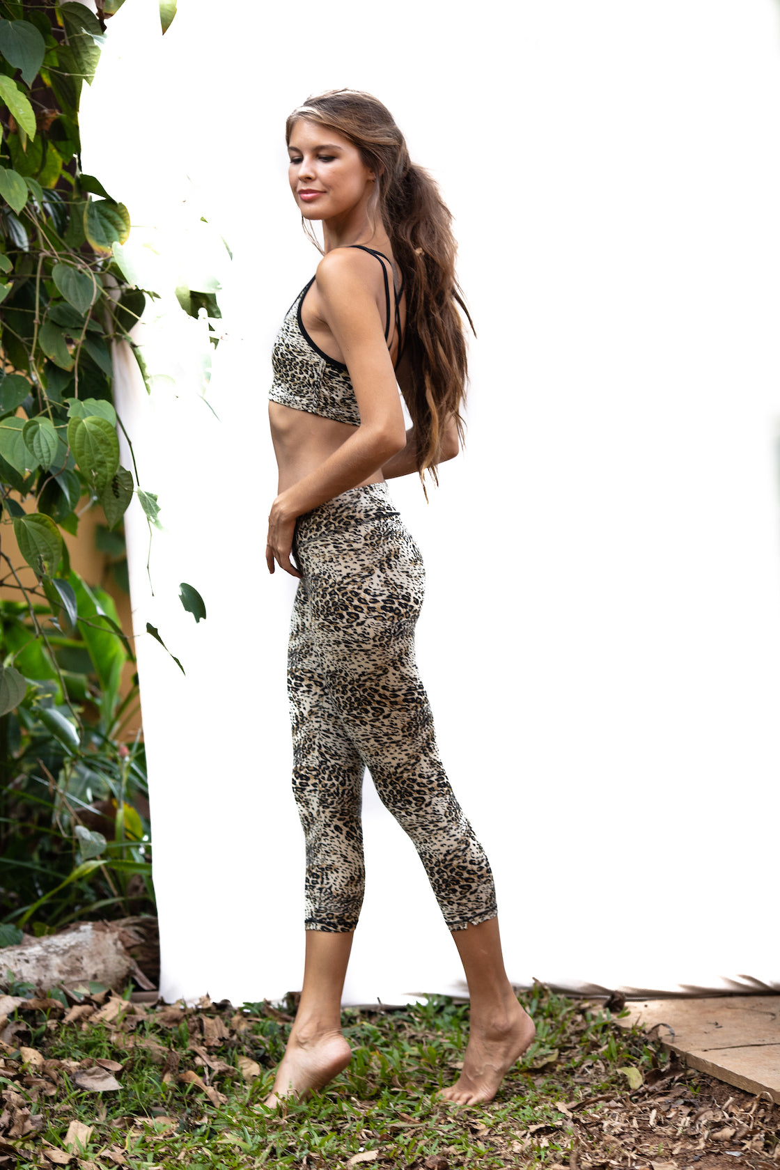 Cross Back Bra - Sports Bra - Cream Leopard