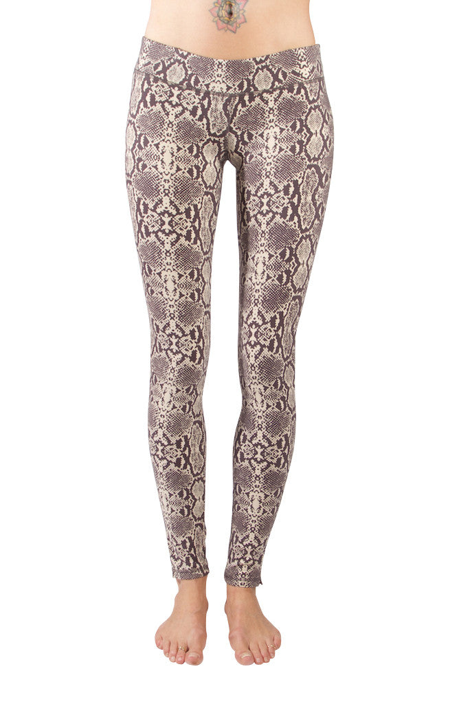 Cream Brown Snake Leggings  - Yoga Tights - FUNKY SIMPLICITY