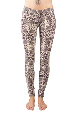 Snake Cream Brown Leggings Tight - FUNKY SIMPLICITY