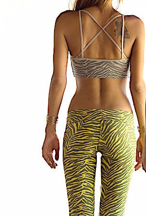 Cross Back Zebra Crop Bra - FUNKY SIMPLICITY