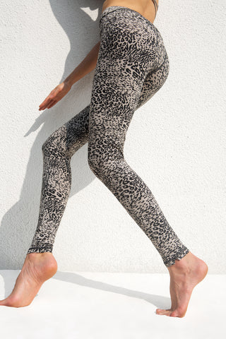 Leggings Leopard Light Grey Black