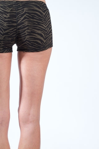 Yoga Hotpants - Cream Black Zebra - Beach Shorts