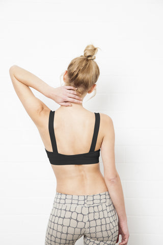 Crinkle Sports Bra, Black