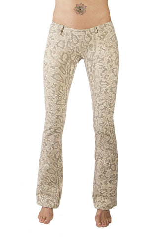 Flared leggings - Snake Cream Brown