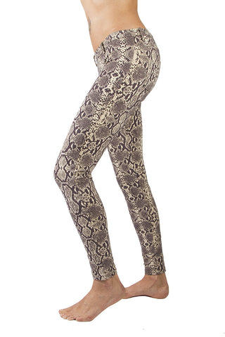 Snake Cream Brown Jeans Jeggings - FUNKY SIMPLICITY