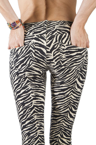 Flared Leggings - Zebra Cream Black