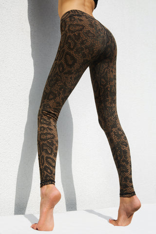 Leggings Black Brown Dragon