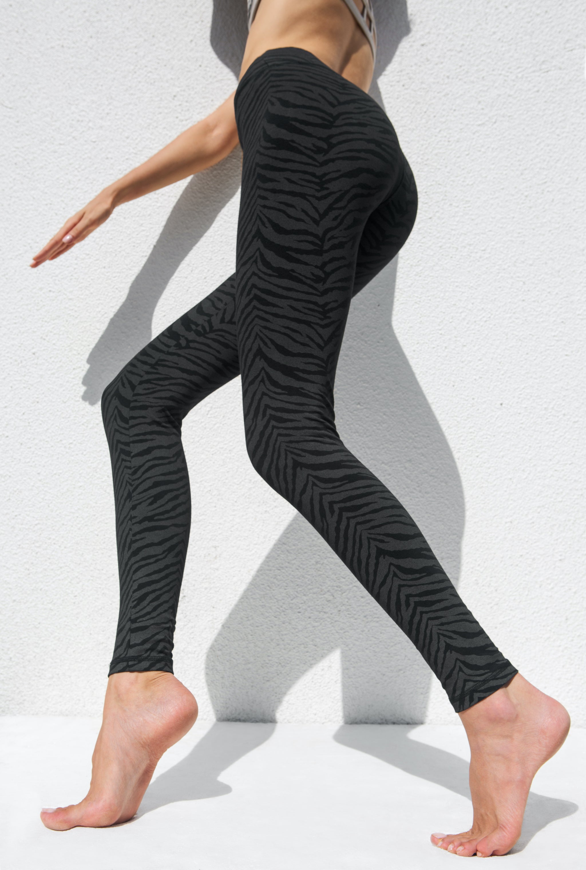 Super High Waist Leggings Tights - Black Zebra