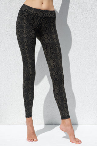 Leggings Cream Black Snake