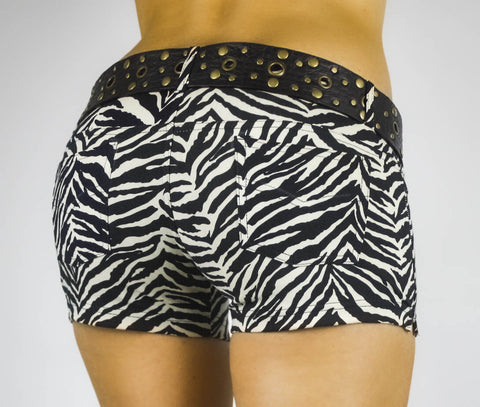 Jeans Jeggings Shorts - Cream Black Zebra